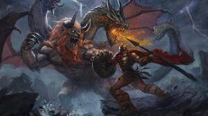 Chimera Creature Spear Warrior 3840x2877 Wallpaper