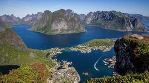 Lake Lofoten Mountain Norway Reine Rock 3600x2400 Wallpaper