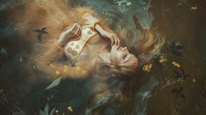 Women Model In Water Marketa Novak Dress Fantasy Girl Long Hair Closed Eyes 2048x1365 Wallpaper