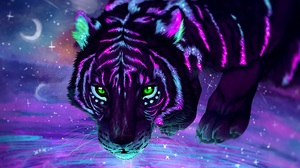 Tiger Animals Head Sky Space Illustration Sunset Lights Dark Night Nature Glowing Wildcats Concept A 3840x2016 Wallpaper