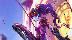 Girl Long Hair Overwatch Purple Hair Widowmaker Overwatch Woman Warrior 3840x2160 Wallpaper