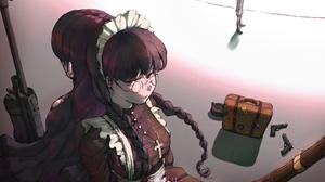 Black Lagoon Female Soldier Girls With Guns Braided Hair Long Hair Violet Hair Anime Girls Maid Outf 5000x3000 Wallpaper