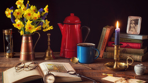 Book Candle Compass Daffodil Glasses Key Pitcher 4200x2800 Wallpaper