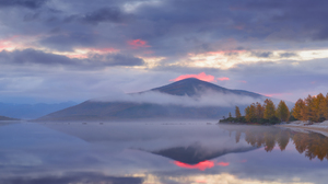 Nature Fall Trees Landscape Sunset Maxim Evdokimov Water Lake Reflection Clouds Forest Hill Mist 35P 2560x1709 Wallpaper