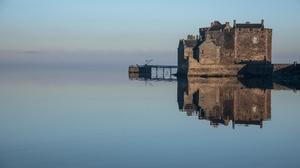 Castle Fog Reflection Scotland 5841x3393 Wallpaper