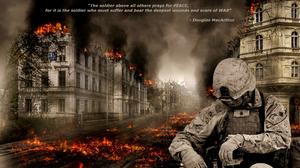 Fire Sadness Soldier War 2382x1474 Wallpaper