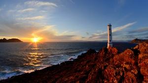 Galicia Rock Sea Spain Sunset 4928x3264 Wallpaper