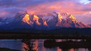 Chile Cloud Lake Mountain Nature Snow Sunset 1600x1200 wallpaper