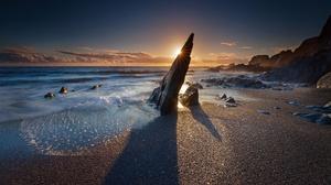 Horizon Nature Ocean Rock Sunrise 2034x1220 Wallpaper