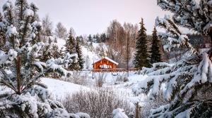 Snow Cabin Bridge Trees Photography Landscape Winter Outdoors Nature 1920x1080 Wallpaper