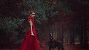 Doberman Pinscher Dog Girl Pine Tree Red Dress Style 2448x1959 wallpaper