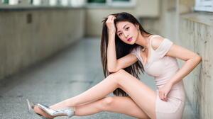 Asian Model Women Long Hair Dark Hair High Heels Sitting Necklace Depth Of Field Balcony Window Earr 1920x1280 Wallpaper