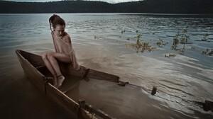 Women Outdoors Model Brunette Women Dreadlocks Bare Shoulders Anklet Sitting In Water 2044x1357 Wallpaper
