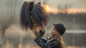 Child Depth Of Field Girl Hat Horse 1920x1281 wallpaper