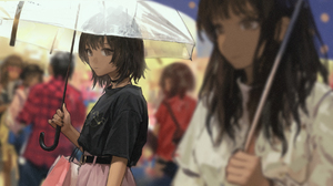 Anime Anime Girls Short Hair Brunette Women With Umbrella Blurry Background 2D Black Shirt Brown Eye 2287x980 Wallpaper