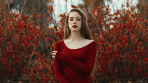 Model Red Dress Dress Photography Looking At Viewer Red Brunette Long Hair Depth Of Field Red Flower 1920x1280 Wallpaper