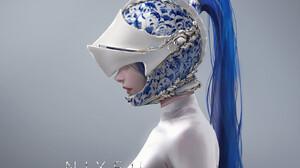 Nixeu Drawing Women Helmet Profile Ponytail Blue Hair Pattern Simple Background 1400x941 Wallpaper