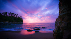 Beach Horizon Ocean Rock Sea Sky Sunset 3000x2000 Wallpaper
