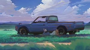 Datsun Artwork Ultrawide Car LoFi JDM Pickup Trucks 5120x1440 Wallpaper