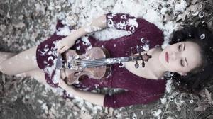 Violin Feathers Women Lying Down Dark Hair Model 3840x2160 Wallpaper