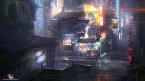 Futuristic Futuristic City Neon Lights Hologram Cyberpunk Digital Art Artwork City Chinese Architect 1920x1080 Wallpaper