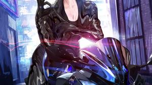2D Artwork Horns Demon Horns Bicycle Anime Anime Girls Gloves Rain Smiling Short Hair Black Hair Pur 2766x3931 Wallpaper
