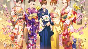 Bird Brown Eyes Brown Hair Cat Cherry Blossom Fan Flower Headdress Kimono 1920x1358 Wallpaper
