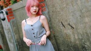 Asian Model Women Pink Hair Grey Dress Necklace Wristwatch Wall Bricks Depth Of Field Sunglasses Lam 1920x1280 Wallpaper
