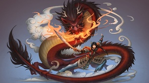 Chinese Dragon Dragon Girl Mulan Sword Woman Warrior 1920x1277 Wallpaper