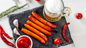 Beer Ketchup Meat Pepper Sausage Still Life Tomato 5760x3840 wallpaper