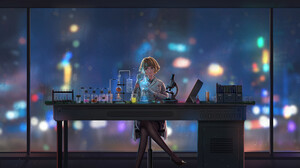 Jesson W Artist Artwork 2D Digital Original Characters Science Desk Chemistry Rain Colorful Women Ba 3840x2160 Wallpaper