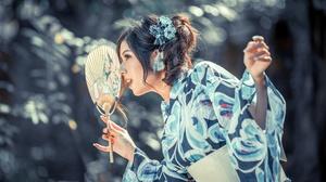 Asian Brunette Fan Girl Kimono Model Woman 4500x3002 Wallpaper