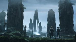 Exploration Landscape Man Rock Waterfall 2560x1174 wallpaper