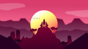 Asthi Seta Digital Art Illustration Artwork DeviantArt Temple Sunset Clouds Birds Mountains Landscap 4000x2250 Wallpaper