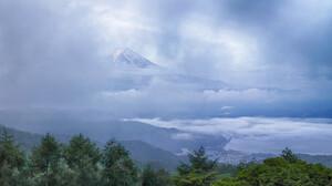 Cloud Fog Forest Japan Mount Fuji Volcano 2048x1365 Wallpaper