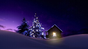 Cabin Christmas Light Night Snow Tree Winter 2000x1166 Wallpaper