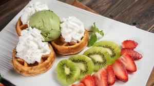 Dessert Fruit Ice Cream Kiwi Strawberry Waffle 7051x4706 Wallpaper