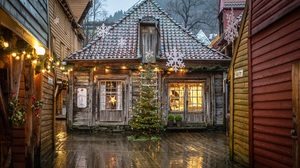Norway Christmas Tree Christmas Ornaments Wooden 2560x1706 Wallpaper
