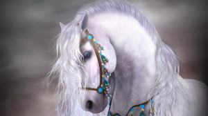 Blue Eyes Feather Horse 1678x1313 wallpaper