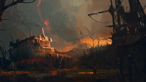 Post Apocalyptic Ship Wreck 2000x1050 Wallpaper