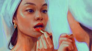 Mandy Jurgens Artwork Women Face Makeup Lipstick Red Lipstick Mirror Reflection 3000x3002 Wallpaper