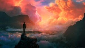 Artistic Cloud Colorful Fantasy Girl Mountain Rock Sky Sunset Woman 1728x972 Wallpaper