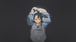Anime Manga Anime Girls Fan Art Illustration Texture Dark Background Nagatoro Hayase Please Dont Bul 1920x1080 wallpaper