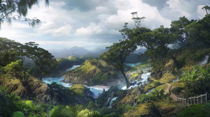 Cloud Forest Landscape Mountain River Road Sky Tree 2000x1066 Wallpaper