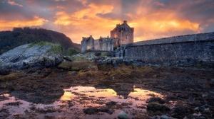 Scotland Outdoors Castle Building Clouds Sunlight Eilean Donan Reflection 2048x1152 wallpaper