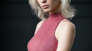 Mikhail Mikhailov Women Portrait Makeup Looking At Viewer Dress Blonde Short Hair Pink Clothing Blue 1536x1920 wallpaper