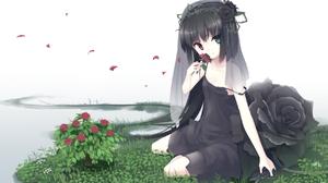 Short Hair Long Hair Flower Grass Heterochromia Rose 1743x1080 Wallpaper