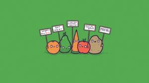 Minimalism Humor Green Background Simple Background Green Orange Fruit Pear Carrots Apples Potatoes  2016x1313 Wallpaper