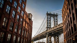 Architecture Bridge Clouds Sky Window Building Manhattan Bridge Brooklyn New York City USA 1920x1080 Wallpaper