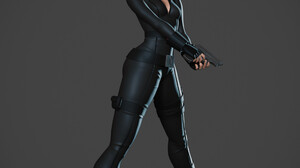 Jonathan Rivadeneyra Black Widow Artwork Women Simple Background Gray Background Gun Weapon Girls Wi 1920x2399 Wallpaper